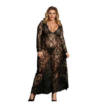 VESTIDO LARGO MANGA LARGA DE SUBLIME QUEEN PLUS SIZE